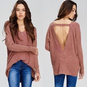 Mineral washed backless sweater.
